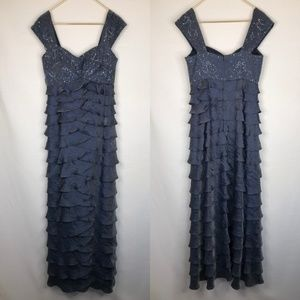Ignite Evenings Long Beaded Blue Formal Dress 10